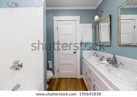 Amazing white remodeled bathroom with shower, fitted counters, wooden floor and nicely decorated shelf.  - stock photo
