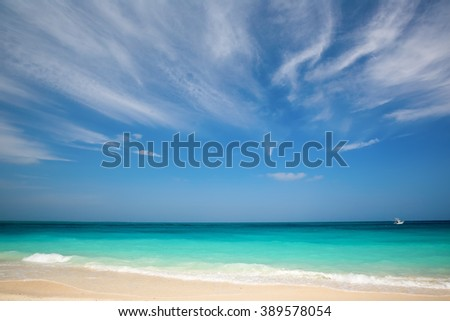 Amazing white sand beach, Zanzibar, Tanzania - stock photo