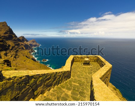 Amazing wild mountain landscape, untouched nature, Gran Canaria in the Atlantic Ocean, Canary Islands in  Spanish archipelago, Spain, Europe - stock photo