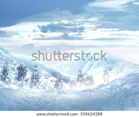 Amazing winter landscape with frozen trees and mountain