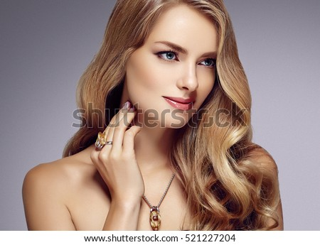 Blonde Girl Hairstyle : Beautiful blonde woman beauty model girl stock photo 529886743