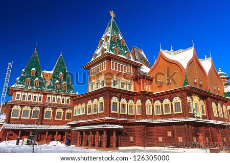 Amazingly Beautiful and Famous Wooden Palace of Tsar Alexey Mikhailovich (reconstruction) in Kolomenskoye park, Moscow, Russia - stock photo