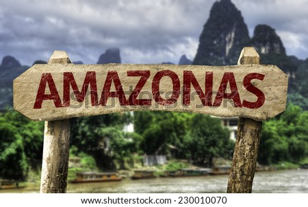 Amazon (In Portuguese) sign with a forest background - stock photo