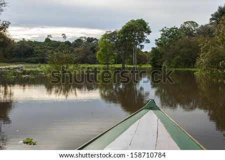 Amazon River from boat - stock photo