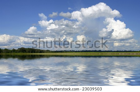 Amazon river margin riverbank and sky landscape reflex - stock photo