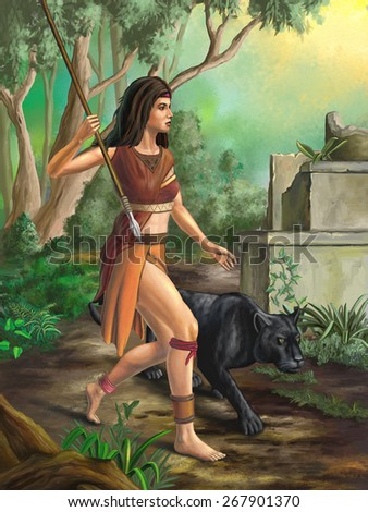 Amazon warrior exploring a forest. Digital illustration. - stock photo