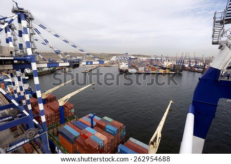 Ambarli, Istanbul,Turkey - MARCH 5 2015. Shipping containers in the Port of Ambarli a major export/import hub on Istanbul. Terminal is the main trading port in European side of the city.  - stock photo