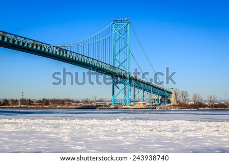 Ambassador Bridge, Windsor,Ontario, Detroit, Michigan - stock photo