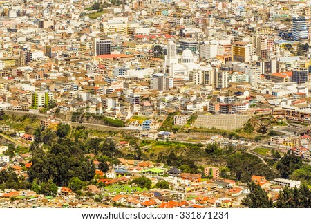 Ambato Ecuador Cityscape From High Point Of View Modern Cathedral In The Center Of The Town