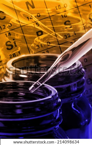 Amber Bottle and Dropper in Laboratory Testing for New Drug or New Substance Development. - stock photo