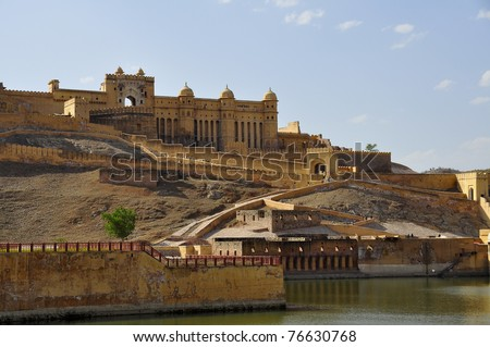 Amber fort in the sunset - stock photo