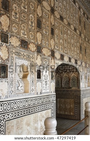 Amber fort interior in India - stock photo