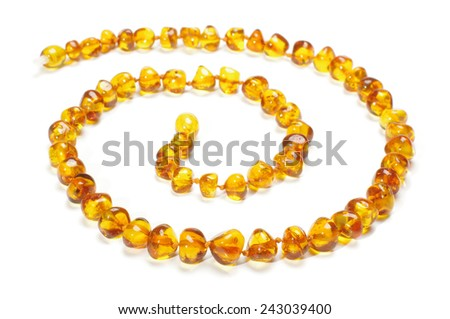 Amber necklace in spiral - stock photo