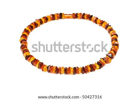 Amber necklace  isolated on a white background.