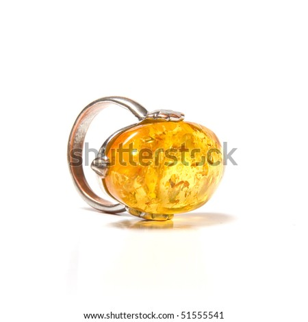 amber ring - stock photo