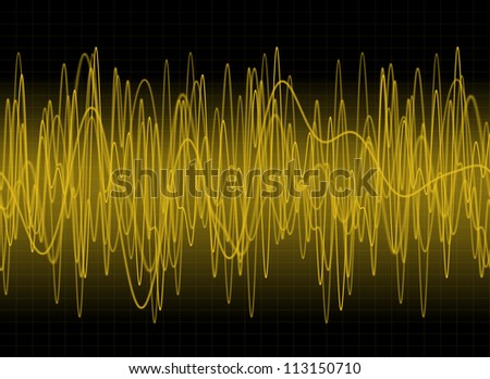 Amber sound waves on dark background - stock photo