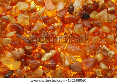 Amber stones from the beach of the Baltic Sea, close-up background - stock photo