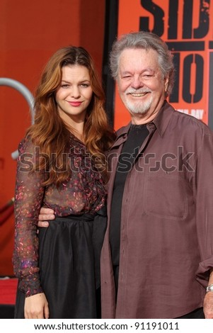 "Amber Tamblyn and Russ Tamblyn at the ""West Side Story"" Cast Hand and Footprint Ceremony, Chinese Theater, Hollywood, CA 11-15-11"