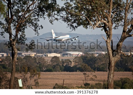 AMBERLEY, AUSTRALIA - NOV 15, 2014: US Air Force One about to land at Amberley Air Base, Nov 15, 2014 in Ipswich, Queensland, Australia for G20 Summit in Brisbane with President Barack Obama on board - stock photo