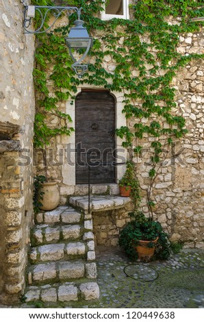 Ambient from old fortified village of Saint Paul, south France, Provence. - stock photo