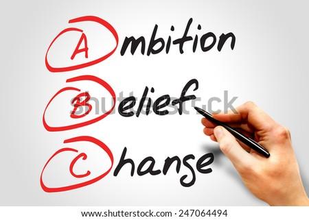 Ambition Belief Change (ABC), business concept acronym - stock photo