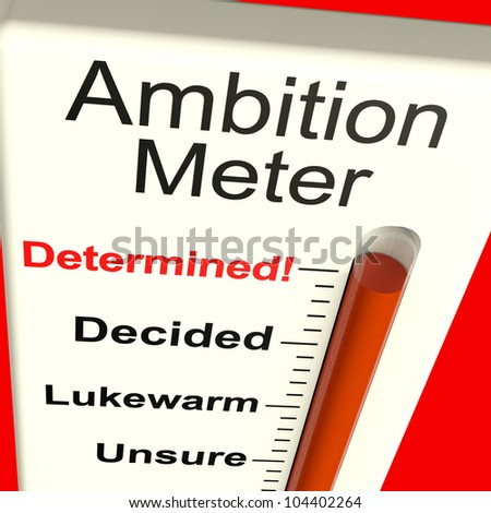 Ambition Meter Showing Aspirations Motivation And Drive