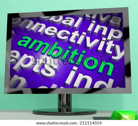 Ambition Word Cloud Screen Meaning Target Aim Or Goal - stock photo