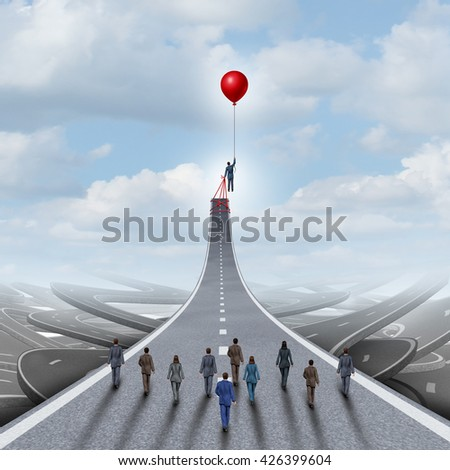 Ambitions concept and business success management and team manager symbol as a businessman lifting a road up with a balloon as a leadership metaphor with 3D illustration elements. - stock photo