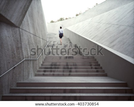 Ambitions concept with a businesswoman climbing up abstract stairs .Photo realistic 3d rendering.