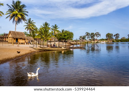 Ambohitsara, Madagascar, Nov. 10: Malagasy typical village along the Pangalanes channel, eastern Madagascar on Nov. 10, 2016