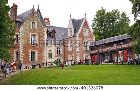 AMBOISE, FRANCE - JULY 19, 2005: Clos Luce mansion in Amboise. Leonardo da Vinci lived here for the last three years of his life, and died there on 2 May 1519 - stock photo