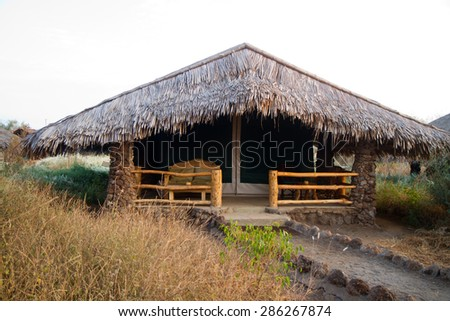 amboseli park, hut in the wild - stock photo