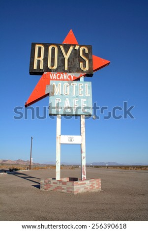 Amboy, California, USA - October 17, 2006: Legendary Roy's Motel and Cafe on historic Highway Route 66. - stock photo