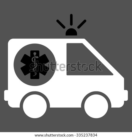 Ambulance Car glyph icon. Style is bicolor flat symbol, black and white colors, rounded angles, gray background.