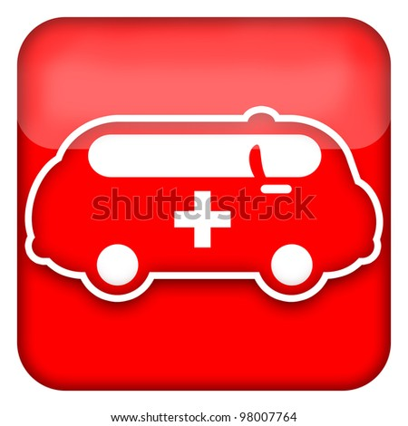Ambulance car red glossy icon isolated over white background