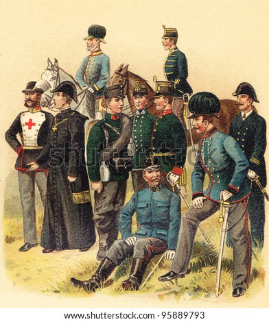 Ambulance corps Austria and Hungary / Vintage illustration from Meyers Konversations-Lexikon 1897