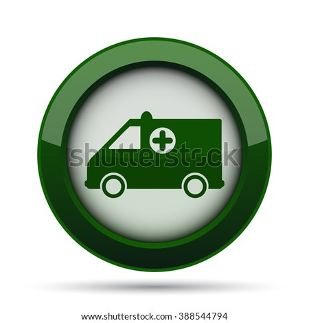 Ambulance icon. Internet button on white background.  - stock photo