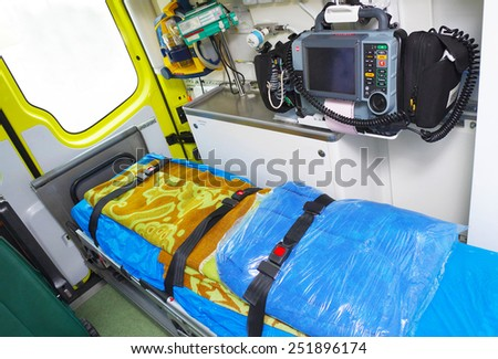 Ambulance interior details. Emergency equipment and devices - stock photo