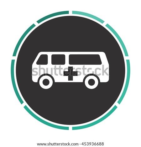 Ambulance. White circle button on black background - stock photo