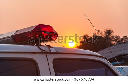 ambulance with sunset in Thailand - stock photo