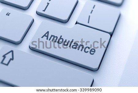 Ambulance word button on computer keyboard with soft focus