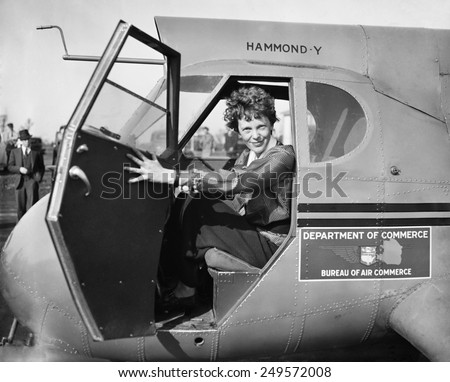 Amelia Earhart in Department of Commerce airplane, 1936. - stock photo