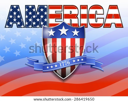 AMERICA American Flag and Shield Background - Raster Version - stock photo