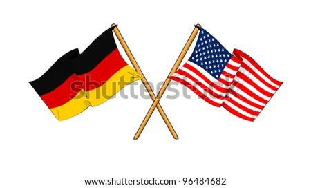 America and Germany alliance and friendship - stock photo