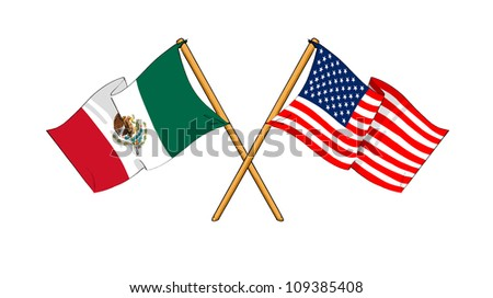 America and Mexico alliance and friendship - stock photo