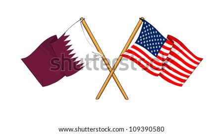 America and Qatar alliance and friendship - stock photo
