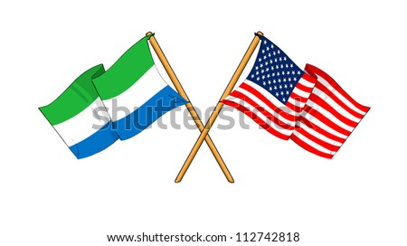America and Sierra Leone alliance and friendship - stock photo