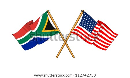 America and South Africa alliance and friendship - stock photo