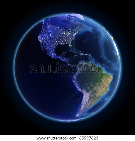 America city lights. Maps from NASA imagery - stock photo