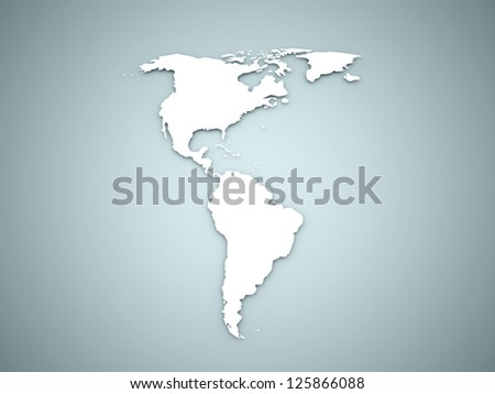 America continent on blue background - stock photo
